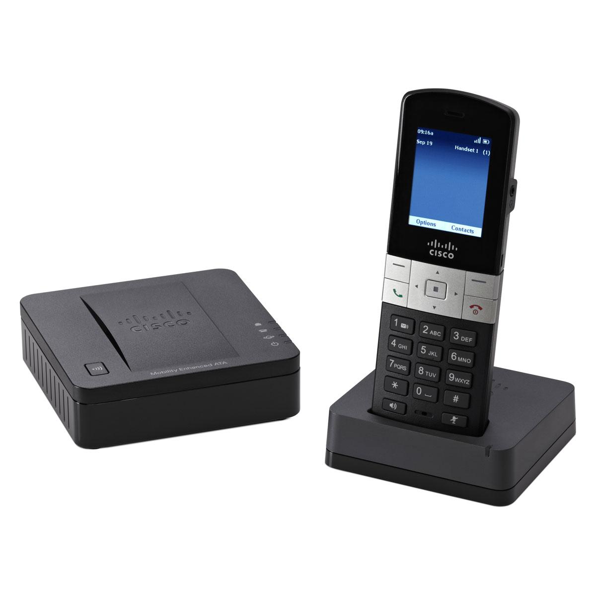 Téléphone sans fil Cisco Small Business SPA302DKIT Combiné téléphonique sans fil DECT + Adaptateur VoIP multi-ligne DECT