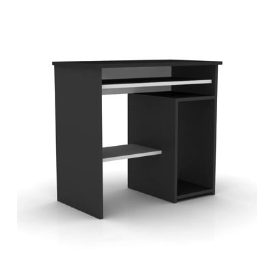Elmob computer desk cd 210 01 noir meuble ordinateur for Meuble de bureau noir