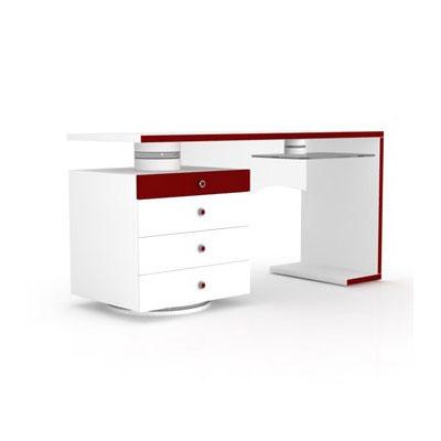 Elmob computer desk cd 210 06 blanc rouge meuble - Meuble ordinateur blanc ...