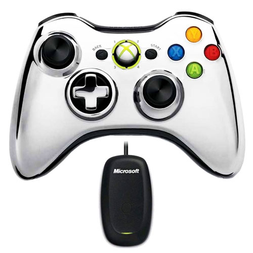 Joypad Microsoft Wireless Controller Chrome Series Argent + Wireless Gaming Receiver (PC / Xbox 360) Joypad sans fil pour Xbox 360 + adaptateur PC pour manette sans fil Xbox 360