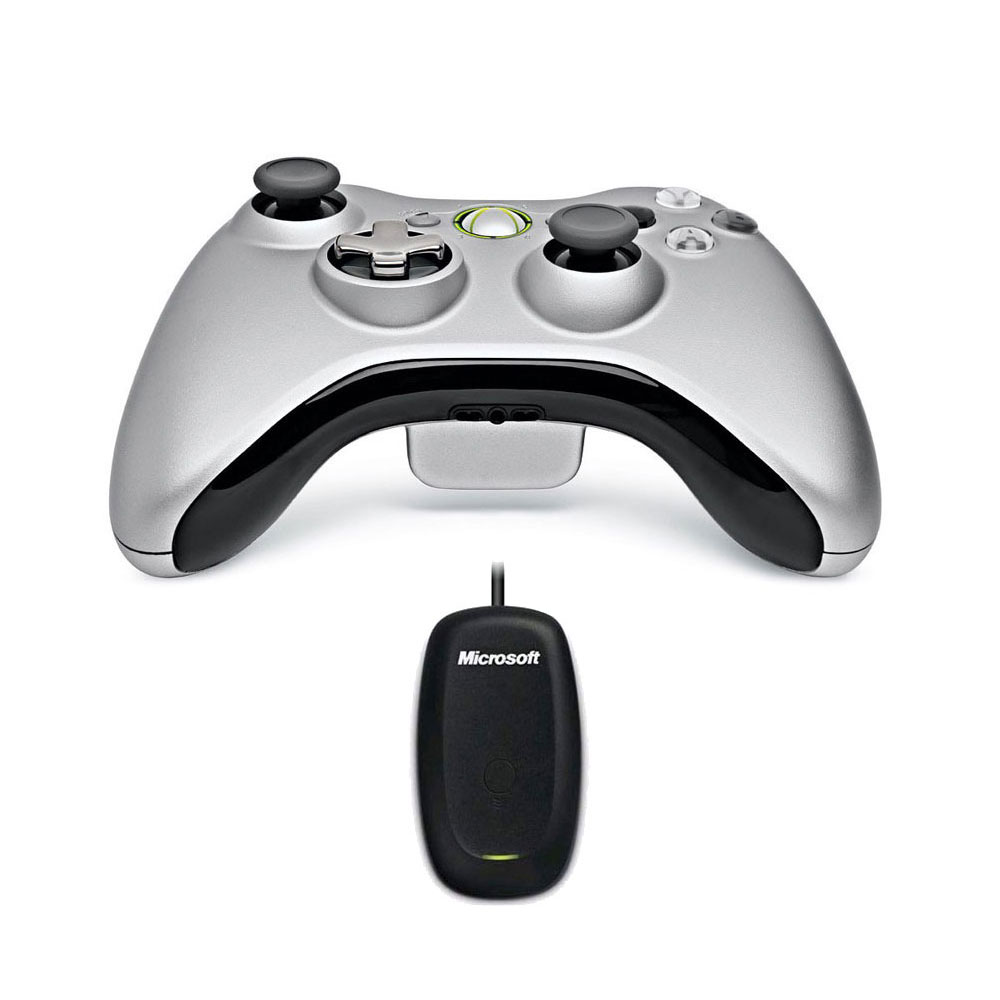 microsoft wireless controller play and charge kit silver wireless gaming receiver pc xbox. Black Bedroom Furniture Sets. Home Design Ideas