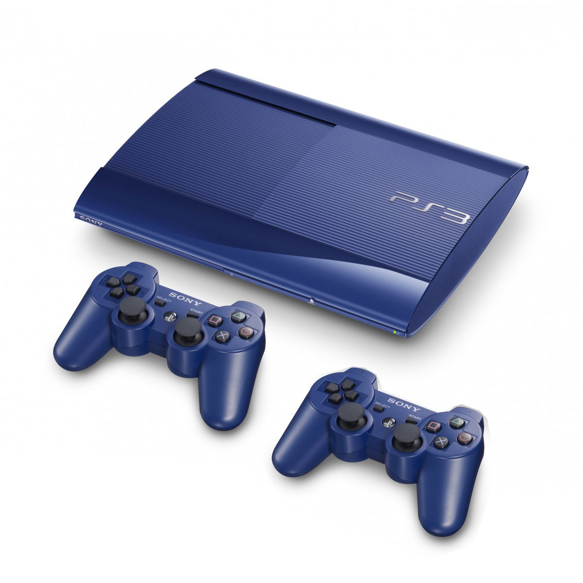 sony playstation 3 ultra slim 500 go bleue 2 manettes achat vente sur. Black Bedroom Furniture Sets. Home Design Ideas