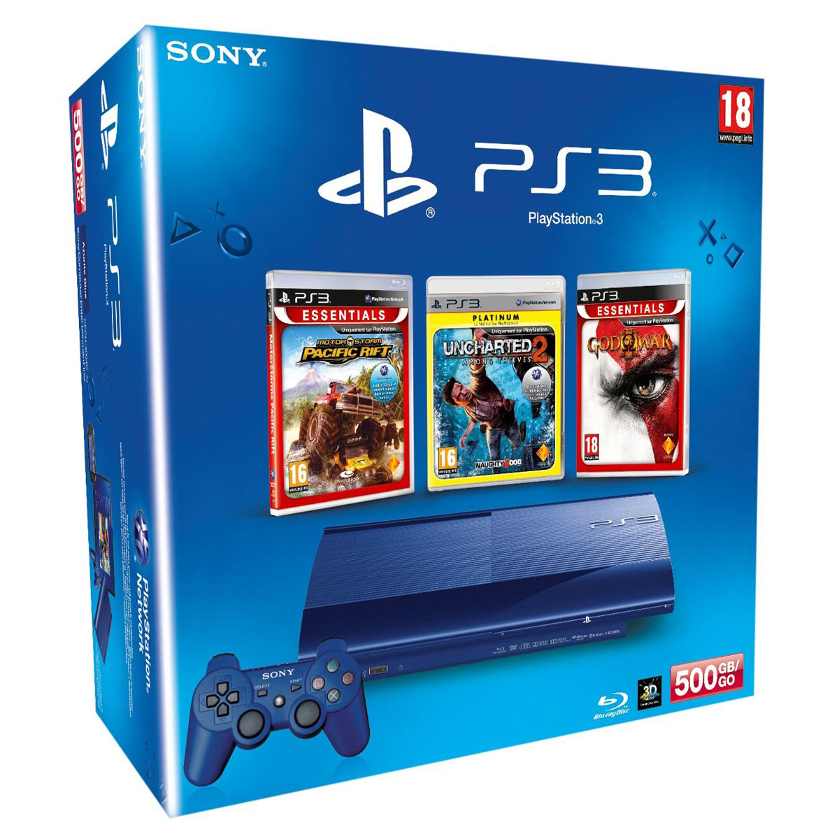 LDLC.com Sony Playstation 3 Ultra Slim Bleue 500 Go Motor Storm : Pacific Rift + Uncharted 2 : Among Thieves + God of War 3 Console Playstation 3 Ultra Slim Bleue 500 Go + trois jeux