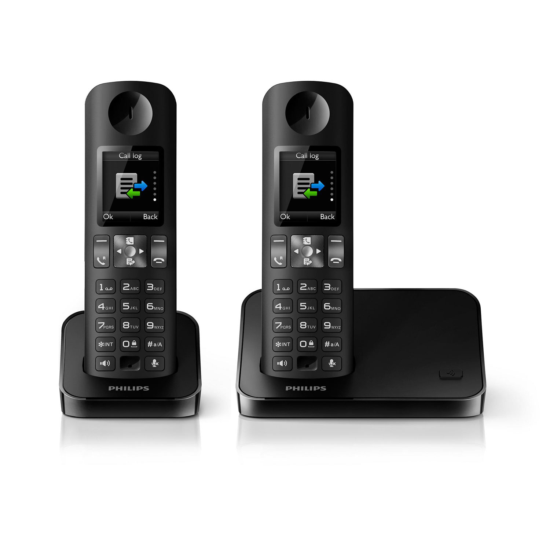 philips d6002 duo noir t l phone sans fil philips sur ldlc. Black Bedroom Furniture Sets. Home Design Ideas