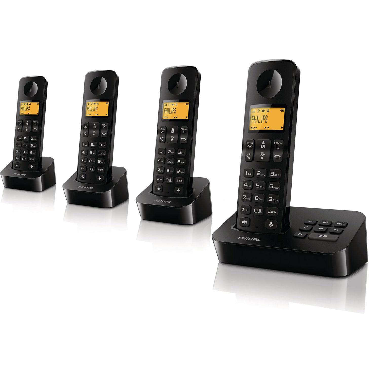 philips d2054 quattro noir t l phone sans fil philips sur ldlc. Black Bedroom Furniture Sets. Home Design Ideas