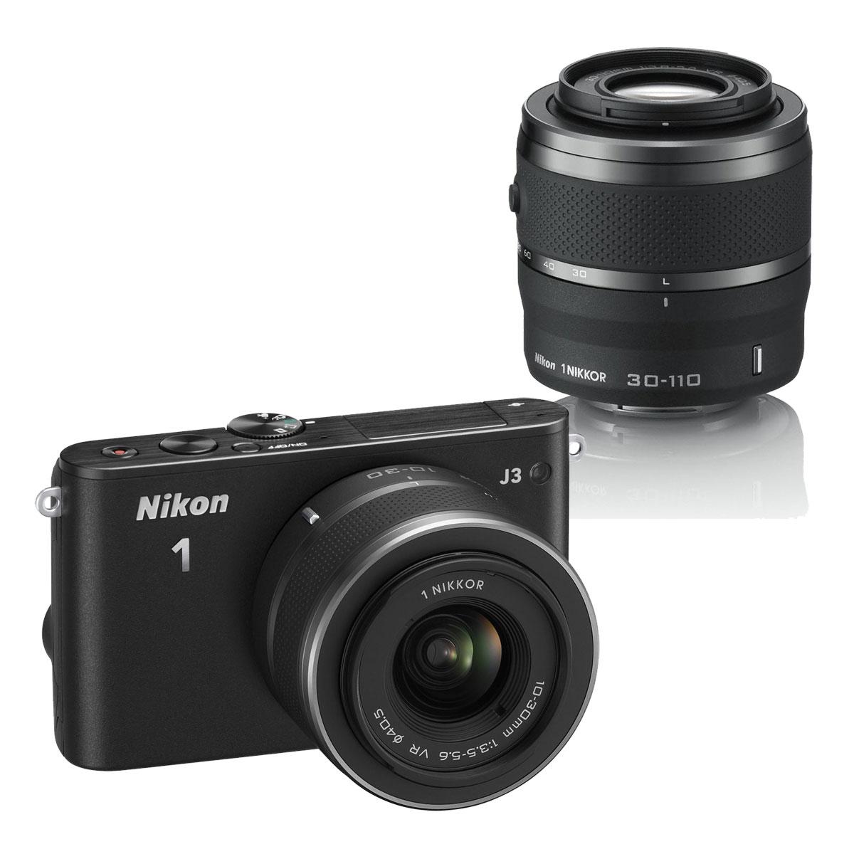 nikon 1 j3 kit zoom avec deux objectifs noir vva181k003 achat vente appareil photo hybride. Black Bedroom Furniture Sets. Home Design Ideas