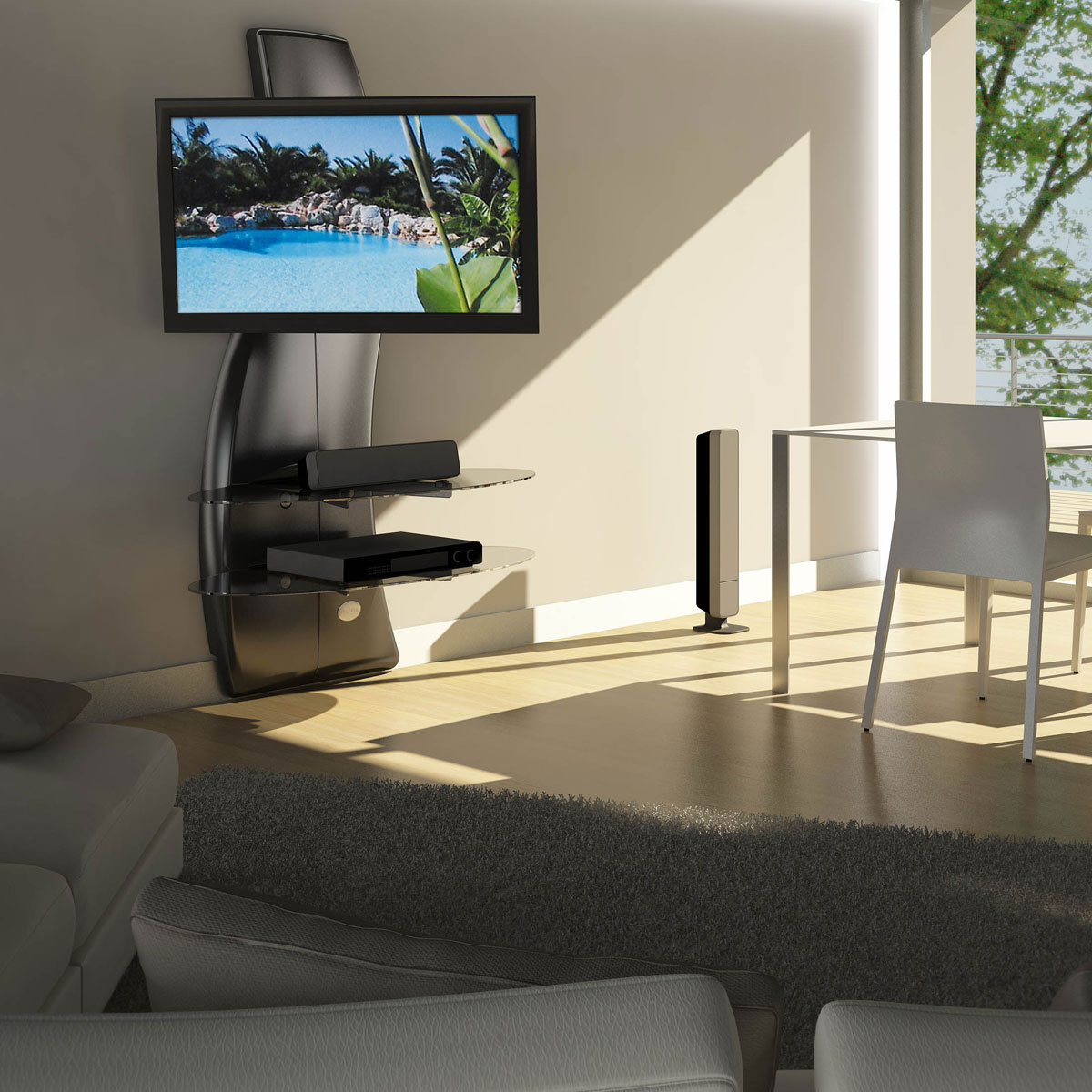Meliconi ghost design 2000 rotation blanc meuble tv - Support tv sur meuble ...