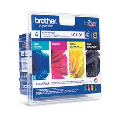 Cartouche imprimante Brother LC1100VALBP Pack de 4 cartouches d'encre noire, cyan, magenta, jaune (325 pages à 5%)