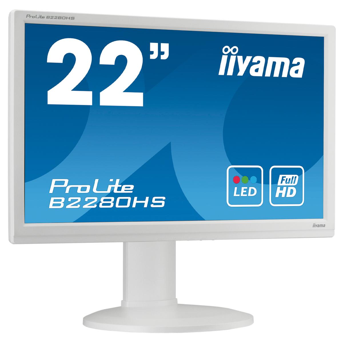 "Ecran PC iiyama 21.5"" LED - ProLite B2280HS Blanc 1920 x 1080 pixels - 5 ms - Format large 16/9 - Pivot - HDMI - Blanc"