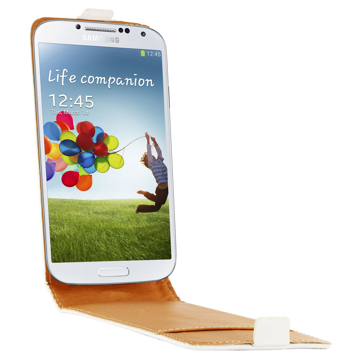 Etui téléphone Swiss Charger Etui Cuir Flip Blanc Samsung Galaxy S4 Etui en cuir véritable pour Samsung Galaxy S4
