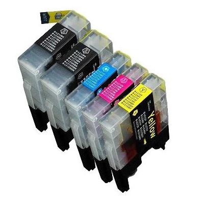 Cartouche imprimante LDLC pack économique compatible Brother LC-1280XL / 1240 / 1220 (2x BK + C + M + Y) Lot de 5 cartouches (2 noires + 1 cyan + 1 magenta + 1 jaune)