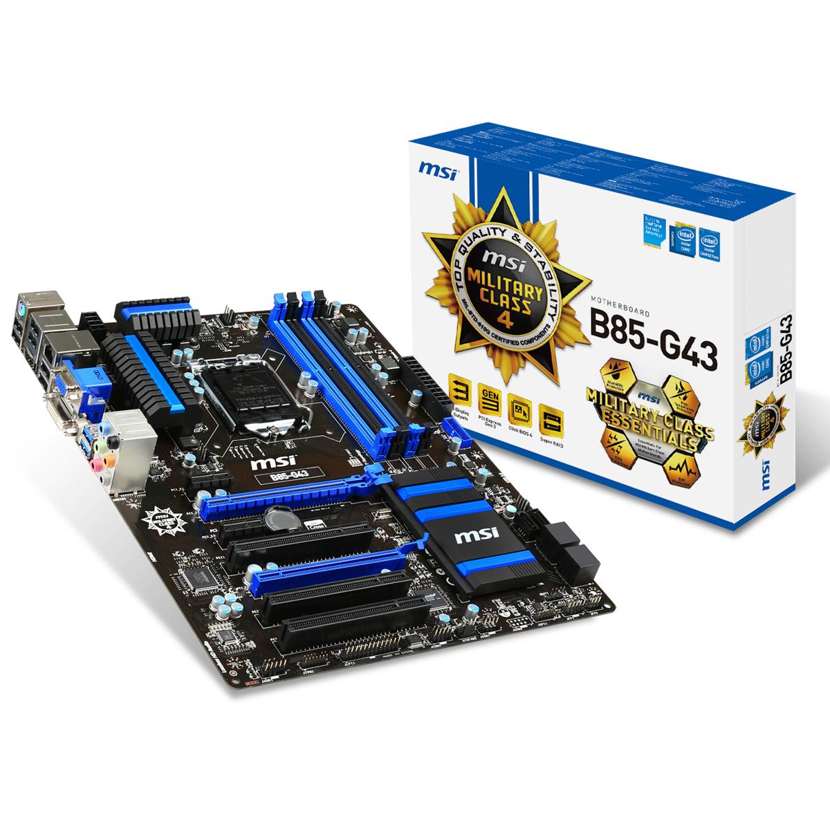 Carte mère MSI B85-G43 Carte mère ATX Socket 1150 Intel B85 Express - SATA 3Gb/s et SATA 6Gb/s - USB 3.0 - 1x PCI-Express 3.0 16x + 1x PCI-Express 2.0 16x
