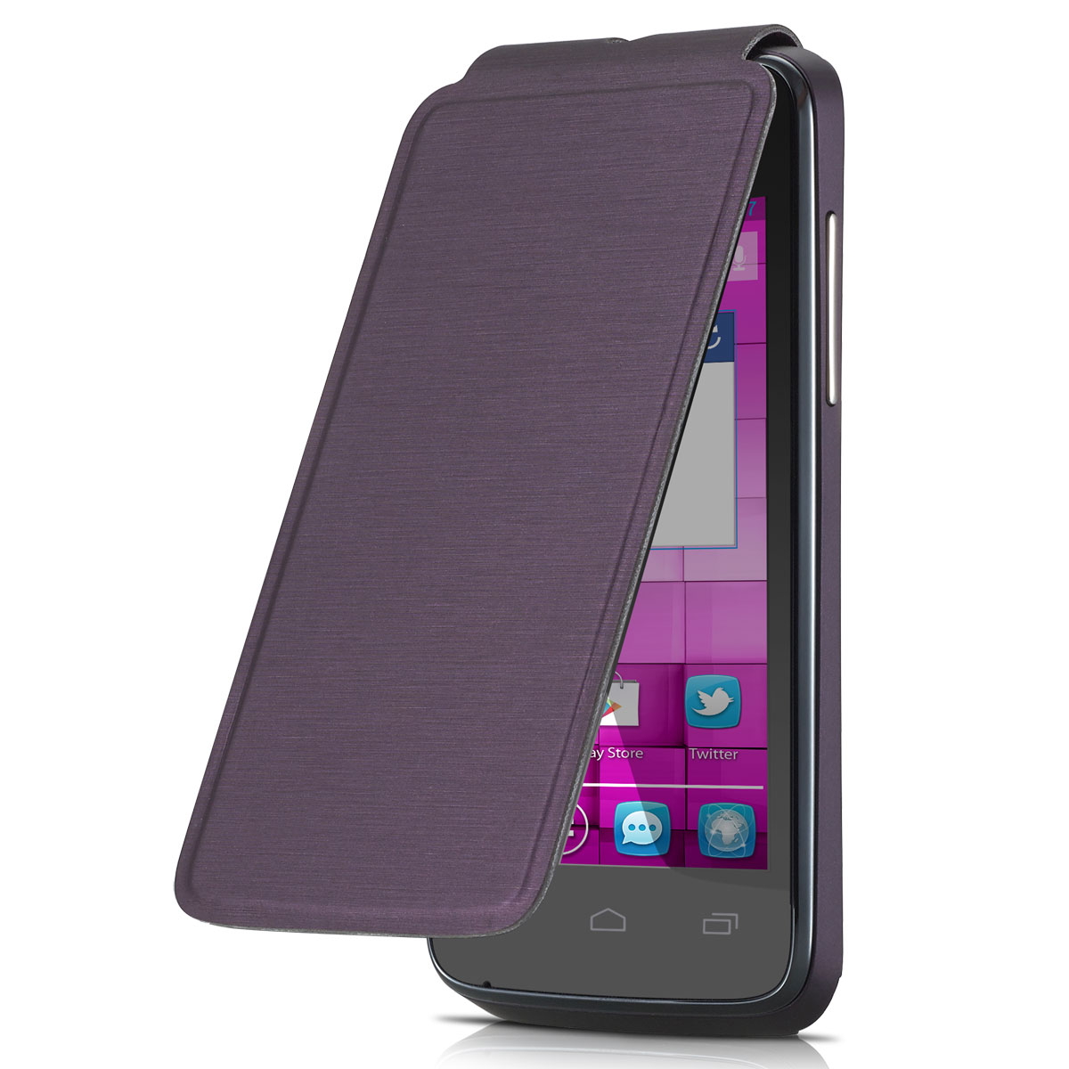 Etui téléphone Alcatel Flip Cover One Touch M'Pop Aubergine Etui Folio pour Alcatel One Touch M'Pop