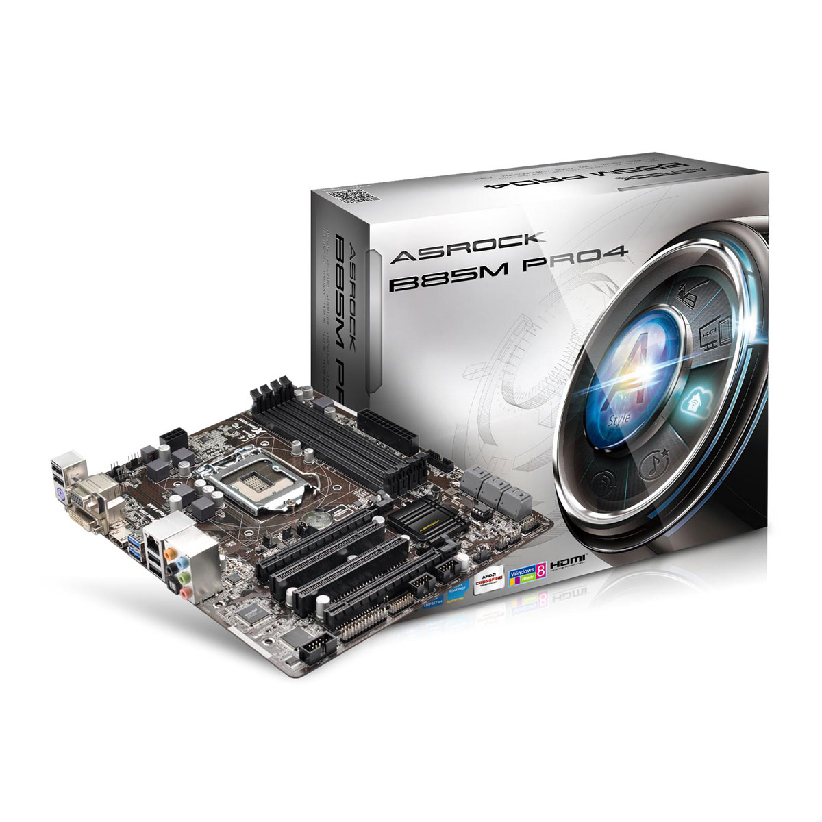 Carte mère ASRock B85M Pro4 Carte mère Micro ATX Socket 1150 Intel B85 Express - SATA 3Gb/s et SATA 6Gb/s - USB 3.0 - 1x PCI-Express 3.0 16x + 1x PCI-Express 2.0 16x