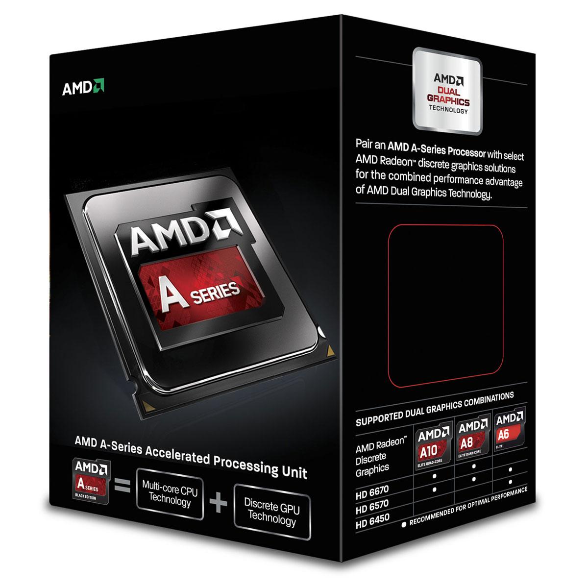 Processeur AMD A8-6600K (3.9 GHz) Black Edition Processeur Quad Core socket FM2 Cache L2 4 Mo Radeon HD 8570D 0.032 micron (version boîte - garantie constructeur 3 ans)