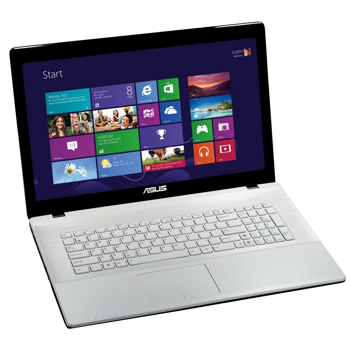 """PC portable ASUS X75VC-TY043H Blanc Intel Pentium 2020M 4 Go 1 To 17.3"""" LED NVIDIA GeForce GT 720M Graveur DVD Wi-Fi N Webcam Windows 8 64 bits (garantie constructeur 1 an)"""