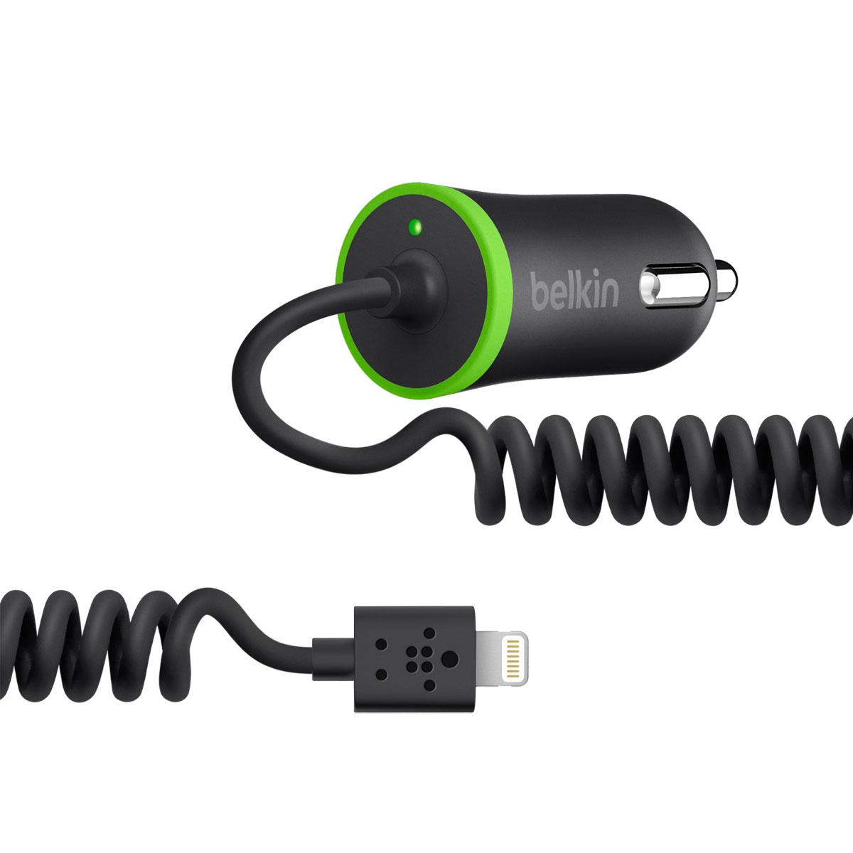 Chargeur téléphone Belkin Chargeur de voiture lighning 2,1 A - Noir Belkin Chargeur de voiture lighning 2,1 A - Noir