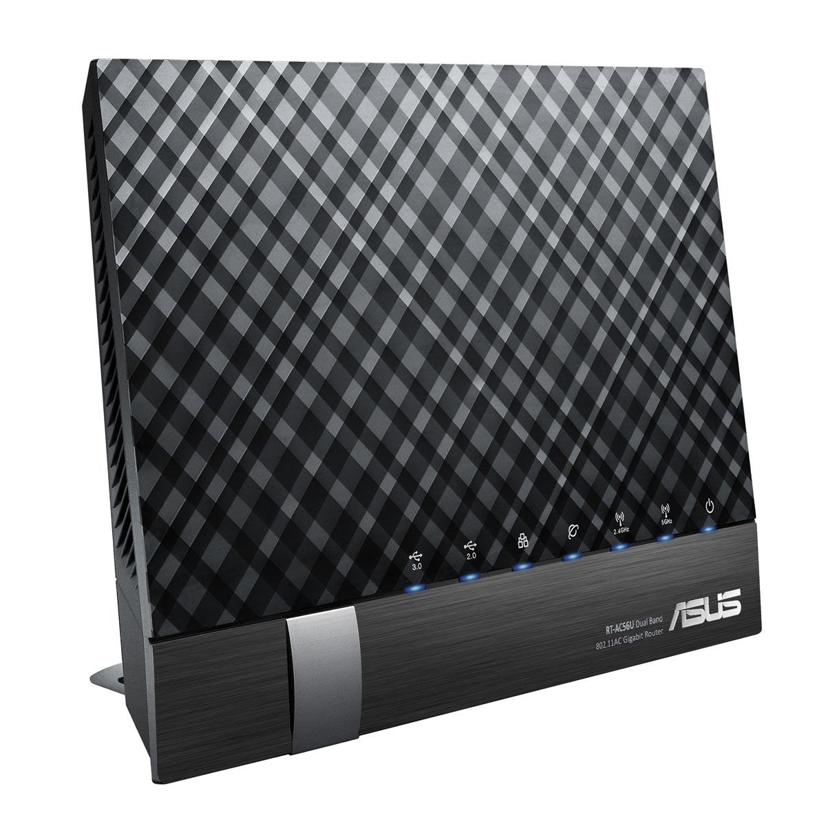 Modem & routeur ASUS RT-AC56U Routeur sans fil WiFi Dual Band 802.11ac 867 Mbps +300 Mbps avec 4 ports LAN 10/100/1000 Mbps