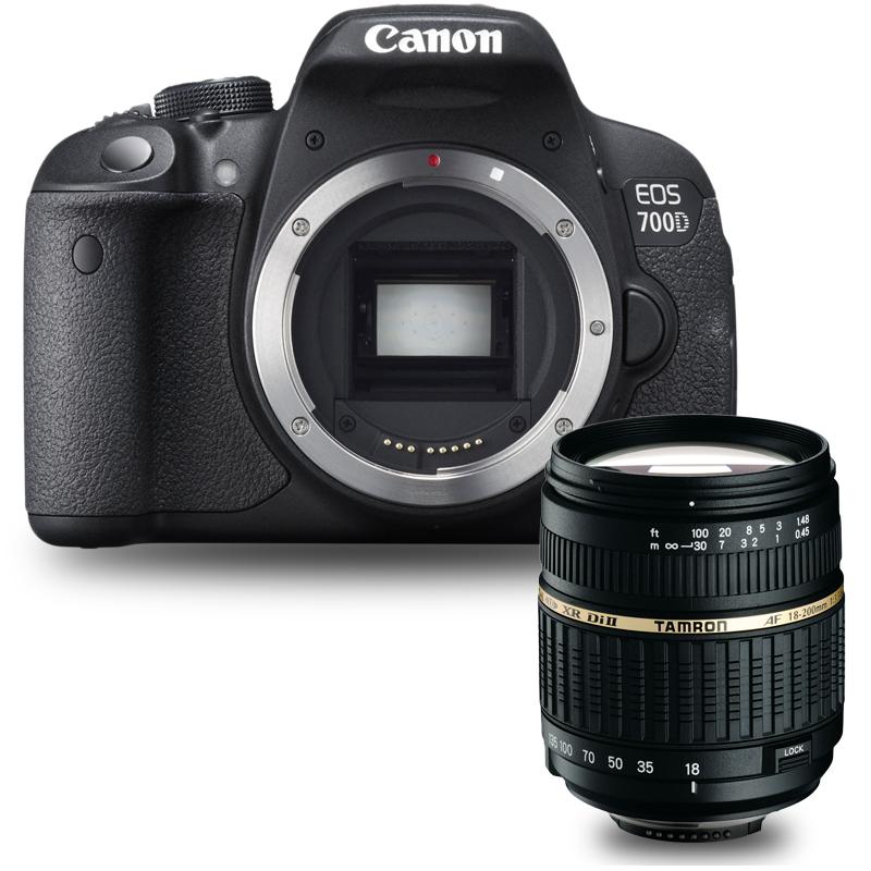 "Appareil photo Reflex Canon EOS 700D + Tamron AF 18-200mm F/3,5-6,3 XR Di II LD ASL [IF] MACRO monture Canon Reflex Numérique 18 MP - Ecran tactile 3"" - Vidéo Full HD"