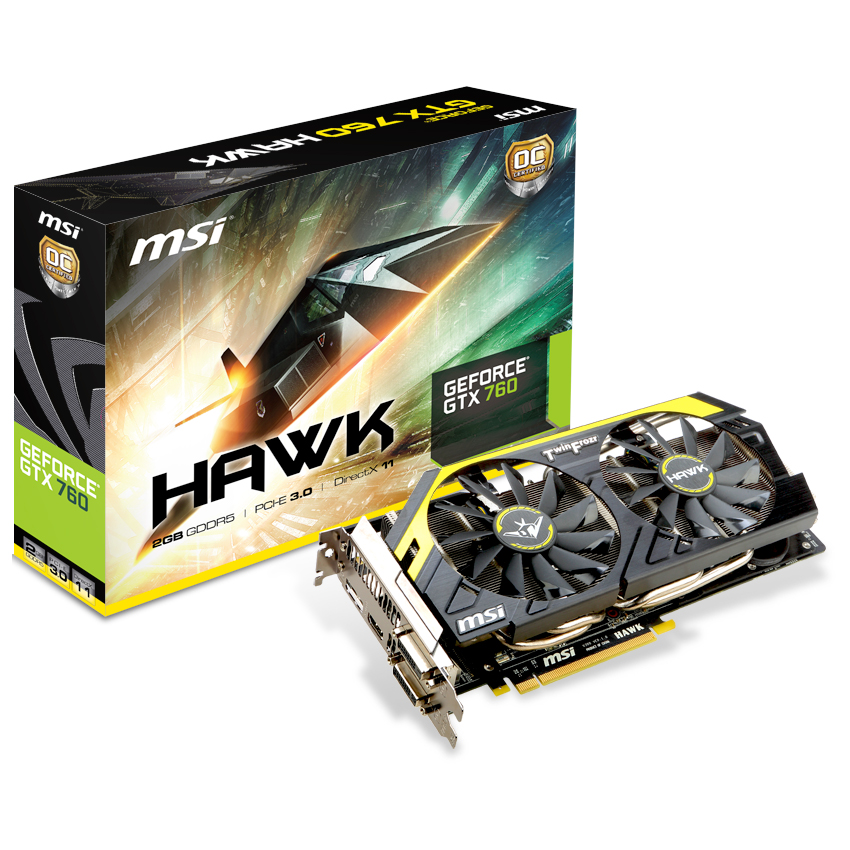 Carte graphique MSI GeForce GTX 760 N760 HAWK 2048 Mo Dual DVI/HDMI/DisplayPort - PCI Express (NVIDIA GeForce avec CUDA GTX 760)