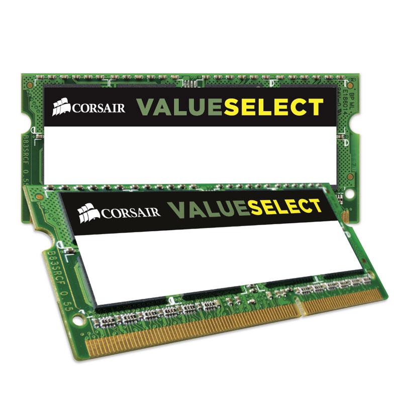 Mémoire PC portable Corsair Value Select SO-DIMM 8 Go (2 x 4 Go) DDR3L 1600 MHz CL11 RAM SO-DIMM DDR3 PC12800 - CMSO8GX3M2C1600C11 (garantie à vie par Corsair)
