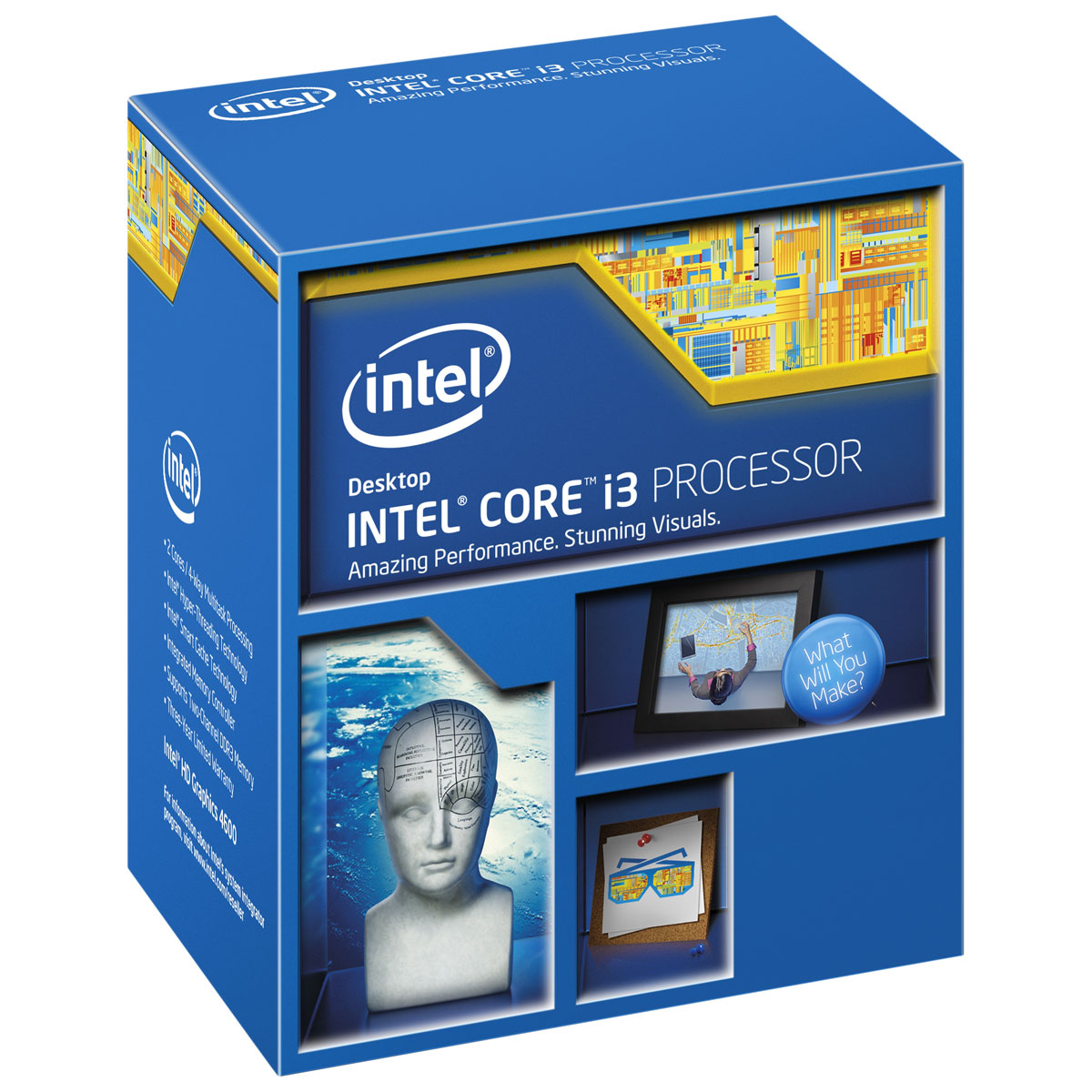 Processeur Intel Core i3-4160 (3.6 GHz) Processeur Dual Core Socket 1150 Cache L3 3 Mo Intel HD Graphics 4400 0.022 micron (version boîte - garantie Intel 3 ans)