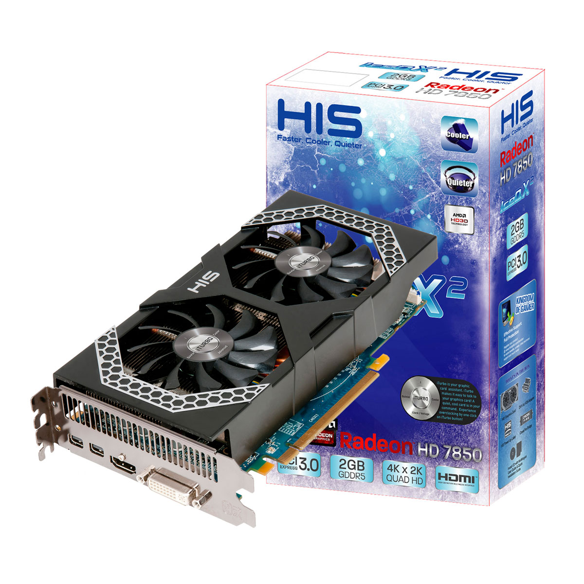 Carte graphique HIS 7850 iPower IceQ X² 2GB 2 Go HDMI/DVI/Dual Mini-DisplayPort - PCI Express (AMD Radeon HD 7850)