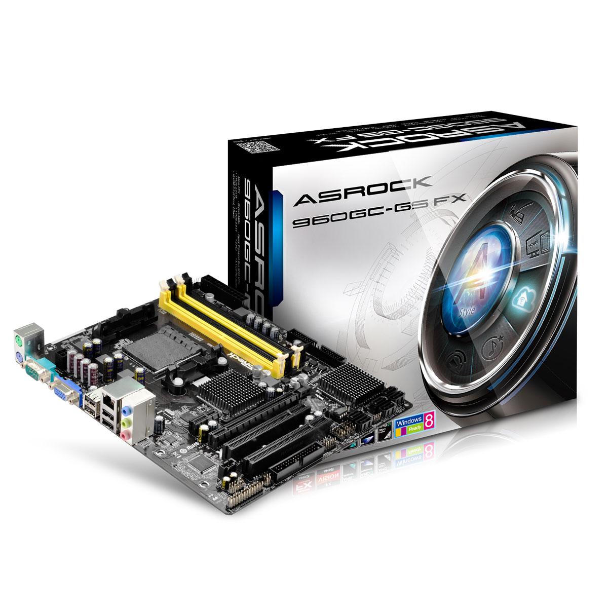Carte mère ASRock 960GC-GS FX Carte mère Micro ATX Socket AM3/AM3+ AMD Radeon 3000 Vidéo intégrée - SATA II 3Gb/s - USB 2.0