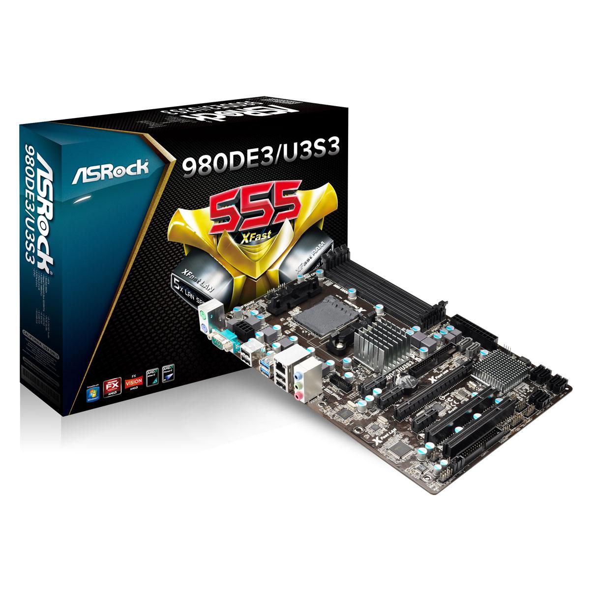 Carte mère ASRock 980DE3/U3S3 Carte mère ATX Socket AM3/AM3+ - SATA 6Gb/s - USB 3.0