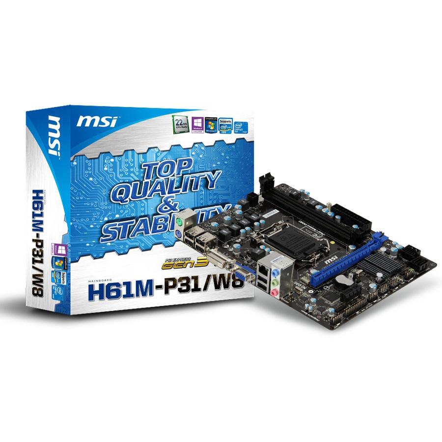 Carte mère MSI H61M-P31/W8 Carte mère Micro ATX Socket 1155 Intel H61 Express - SATA 3 Gbps - USB 2.0 - 1x PCI-Express 3.0 16x