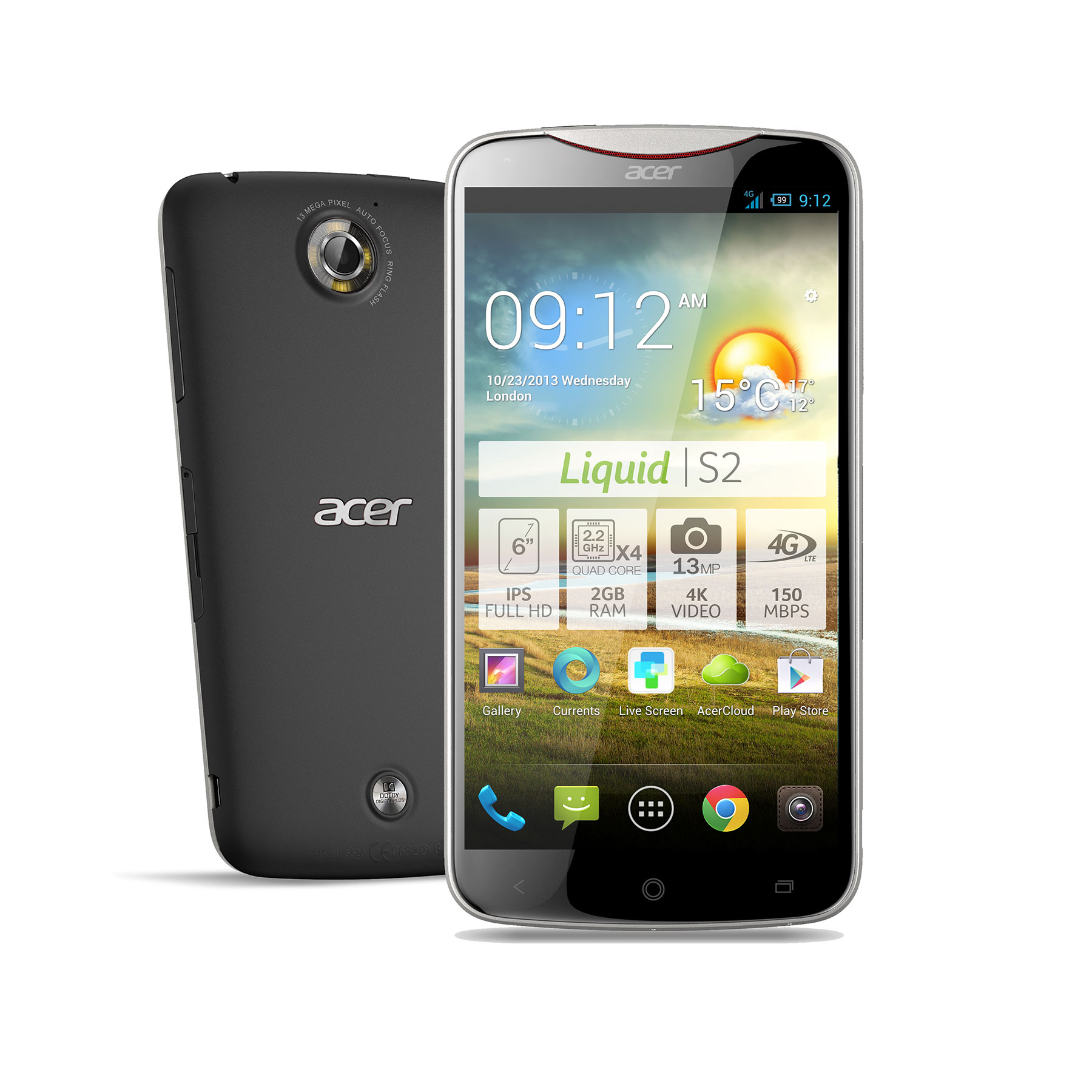 "Mobile & smartphone Acer Liquid S2 Rock Black Smartphone 4G-LTE avec écran tactile Full HD 6"" sous Android 4.2"