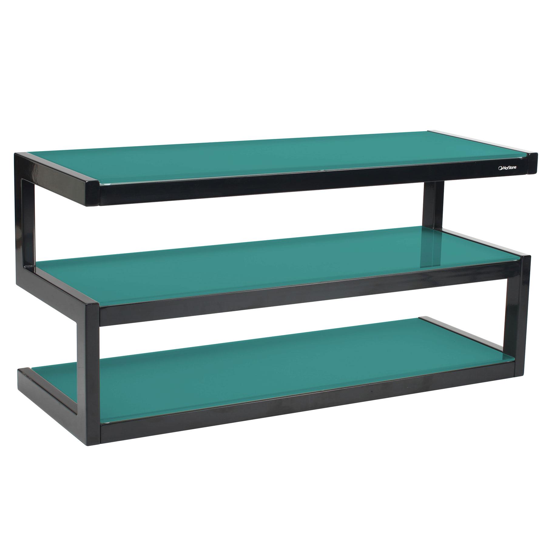 Norstone esse acier noir verre bleu lagon meuble tv norstone sur ldlc for Petit meuble audio