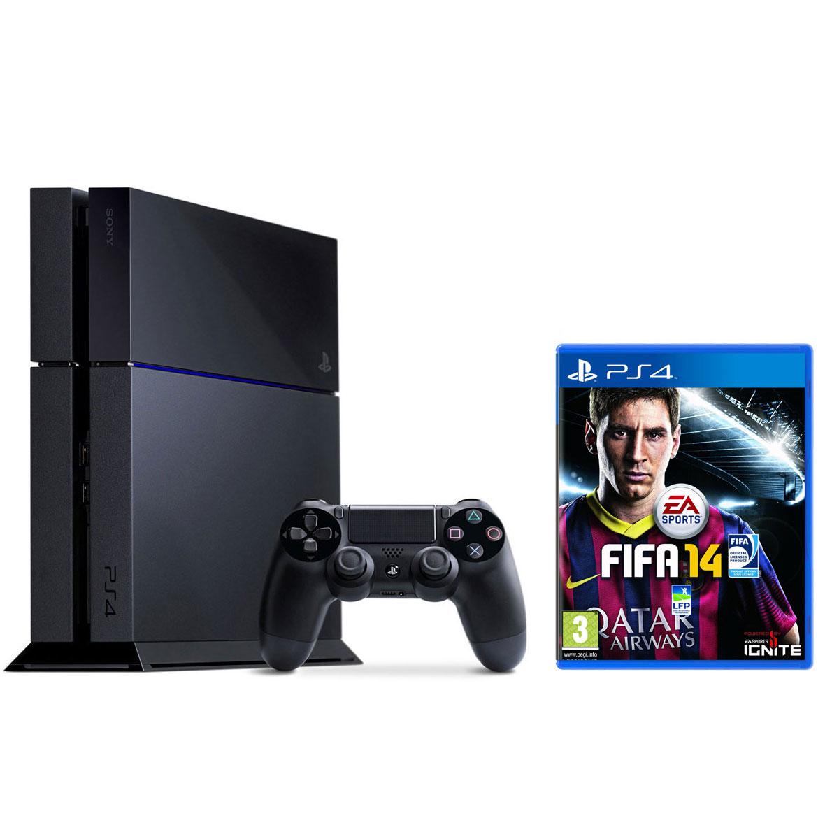Console de jeux Sony PlayStation 4 + FIFA 14 Console PlayStation 4 500 Go + Une Manette Dual Shock 4 + FIFA 14