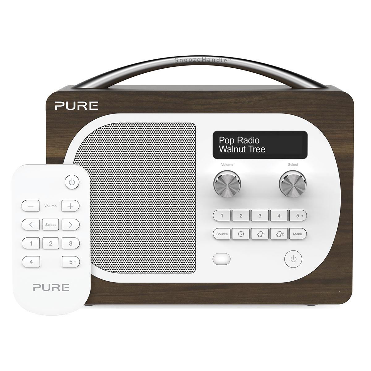 Pure evoke d4 walnut radio radio r veil pure sur ldlc for Radio numerique portable