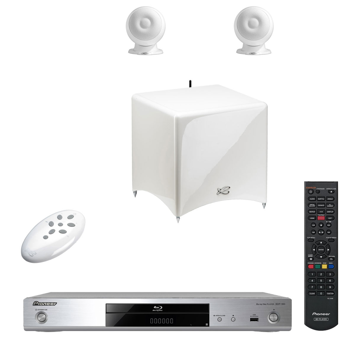 cabasse stream 3 blanc pioneer bdp 160 argent ensemble. Black Bedroom Furniture Sets. Home Design Ideas