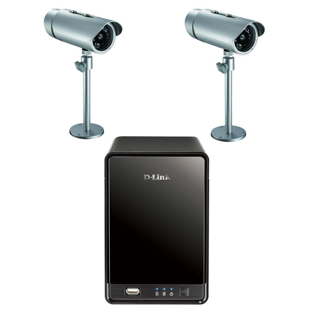 Serveur NAS D-Link DNR-322L + 2x D-Link DCS-7110 Enregistreur vidéo réseau filaire autonome 2 baies (sans disque dur) + 2 Caméras Internet/Sécurité extérieure HD PoE (Ethernet) - Vision nocturne/diurne