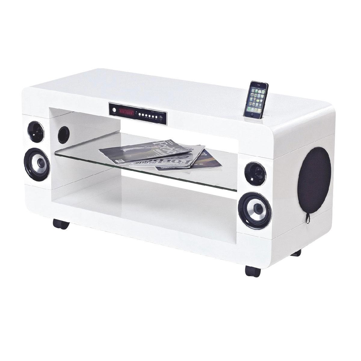 Ensemble home cinéma SoundVision SV-230 W Blanc Meuble Home Cinéma 2.1 avec station d'accueil iPod/iPhone et technologie Bluetooth