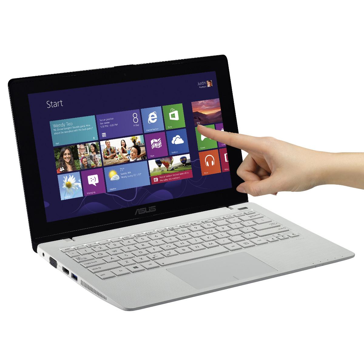 """PC portable ASUS Vivobook F200MA-CT067H Blanc Intel Celeron N2815 4 Go 500 Go 11.6"""" LED Tactile Wi-Fi N Webcam Windows 8.1 64 bits (garantie constructeur 1 an)"""