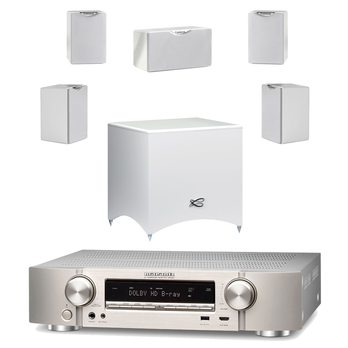 marantz nr1604 argent cabasse pack fidji 5 1 blanc. Black Bedroom Furniture Sets. Home Design Ideas