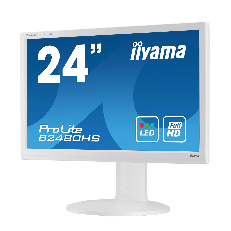 """Ecran PC iiyama 23.6"""" LED - ProLite B2480HS-W1 1920 x 1080 pixels - 5 ms - Format large 16/9 - Pivot - HDMI - Blanc"""