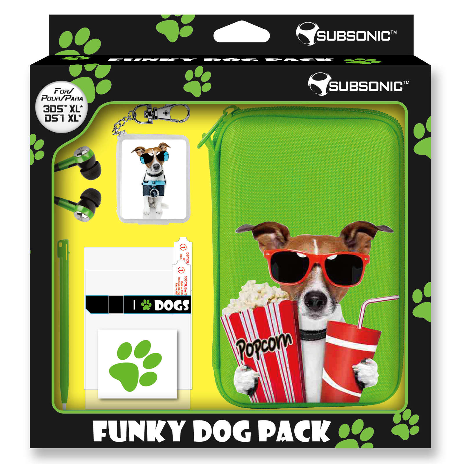 Subsonic funky animals dog green pack xl nintendo 3ds xl for Housse nintendo 3ds xl