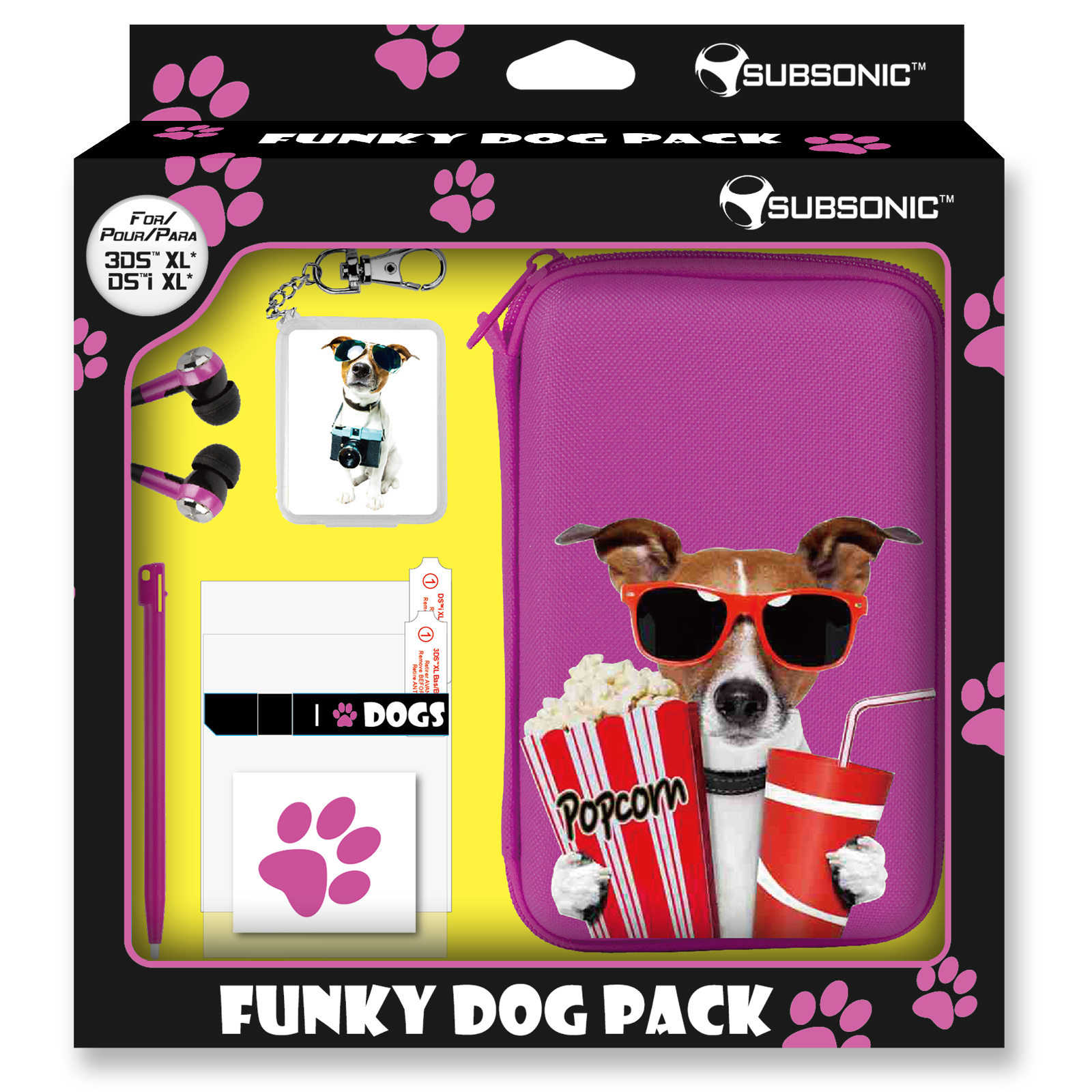 Subsonic funky animals dog pink pack xl nintendo 3ds xl for Housse nintendo 3ds xl