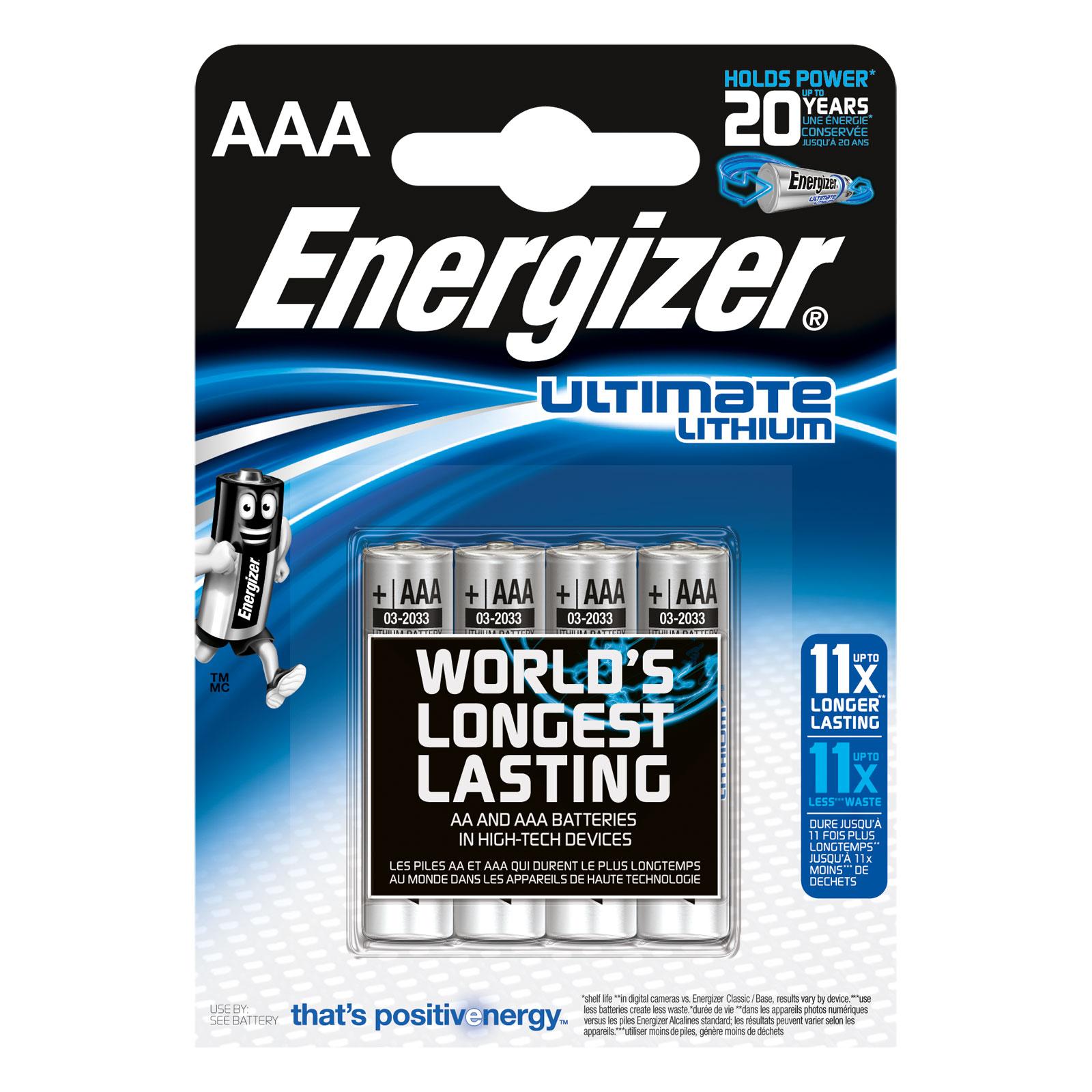 Pile & accu Energizer Ultimate Lithium AAA (par 4) Pack de 4 piles AAA (LR03) au lithium à très hautes performances