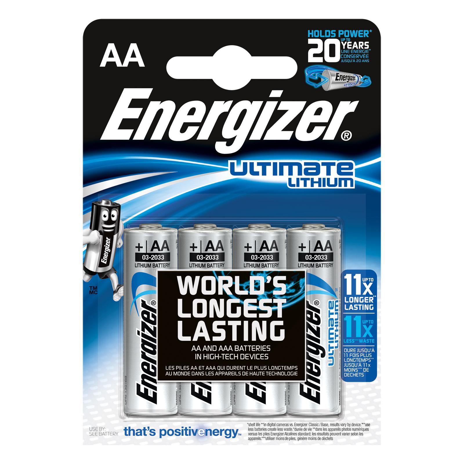 Pile & accu Energizer Ultimate Lithium AA (par 4) Pack de 4 piles AA (LR6) au lithium à très hautes performances