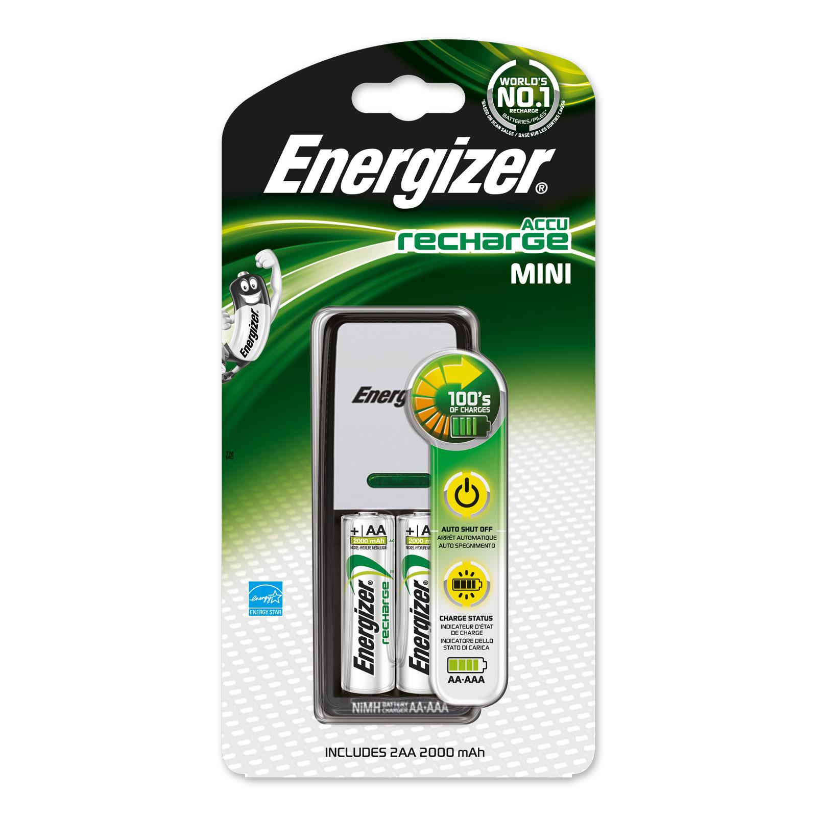 Chargeur de piles Energizer Accu Recharge Mini Chargeur de piles AA/AAA compact + 2 piles AA 2000 mAh