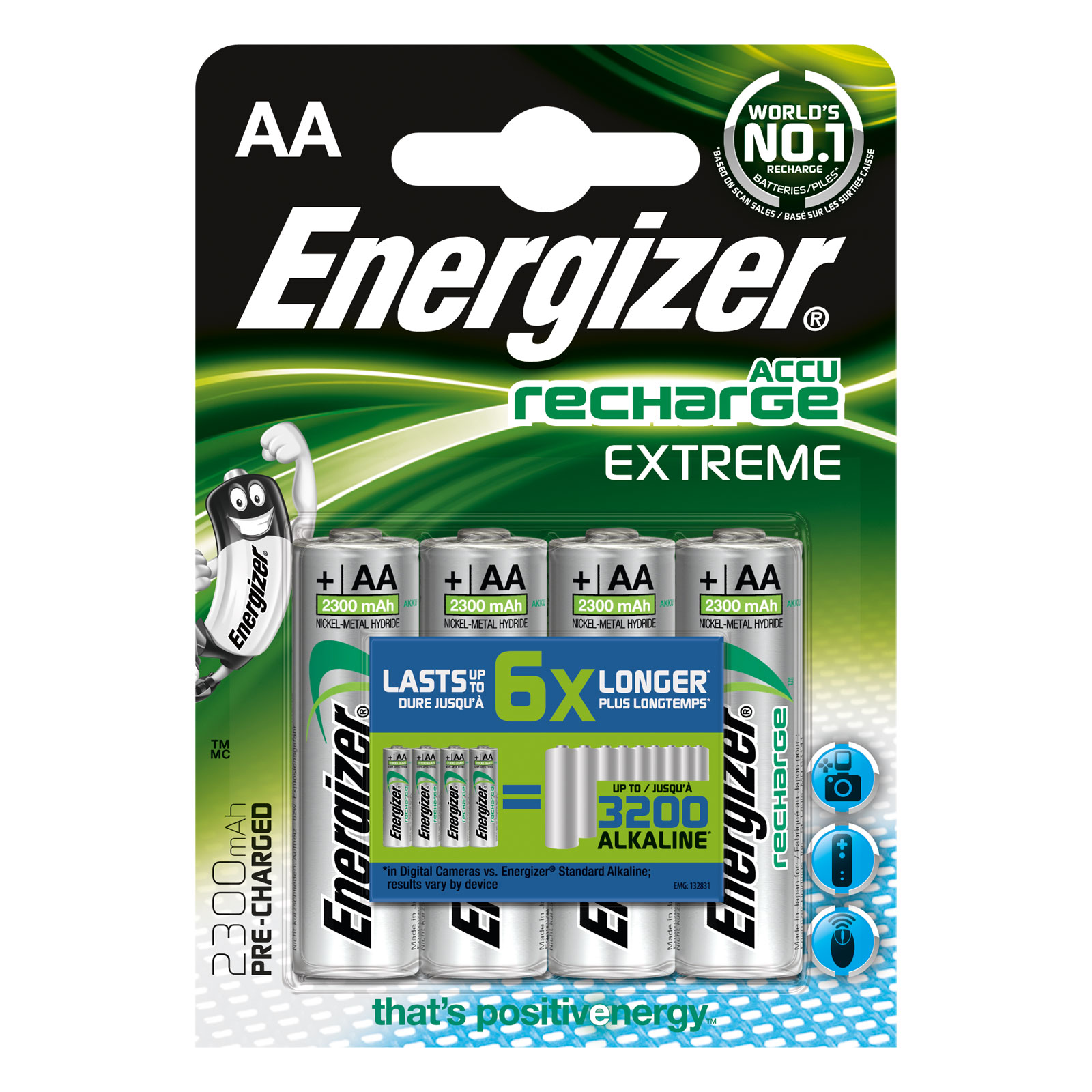 Pile & accu Energizer Accu Recharge Extreme AA 2300 mAh (par 4) Pack de 4 piles AA (HR06) rechargeables 2300 mAh