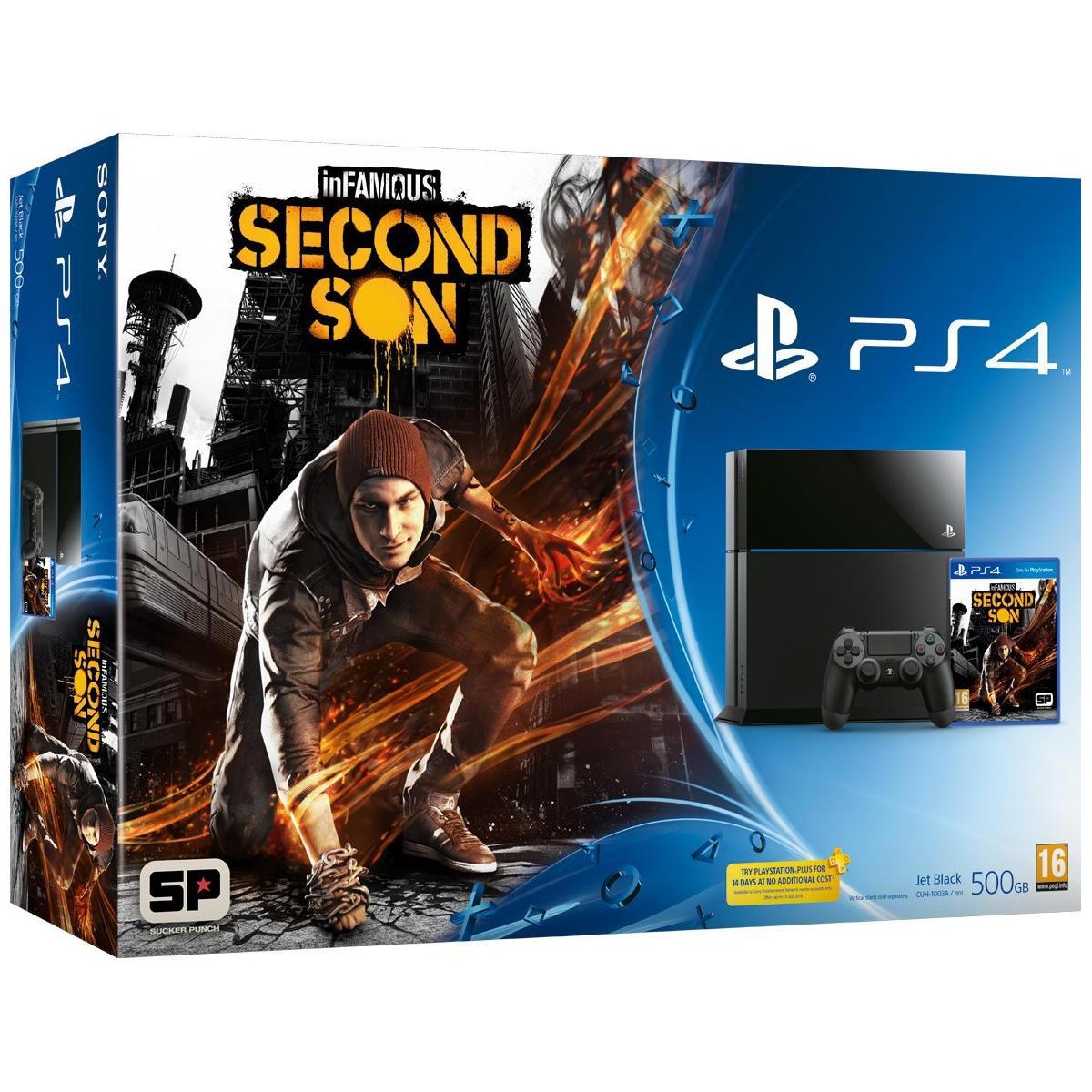 Console de jeux Sony PlayStation 4 + InFAMOUS Second Son Console PlayStation 4 500 Go + InFAMOUS Second Son