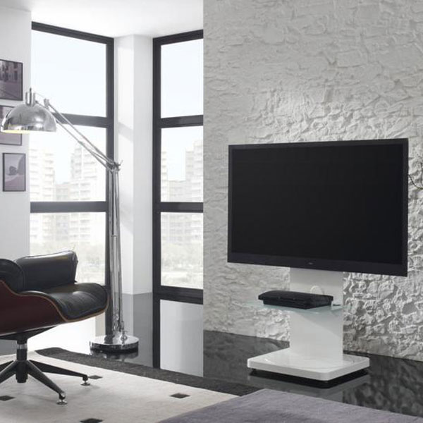 Gisan fs101bl blanc meuble tv gisan sur ldlc for Meuble haut pour tv