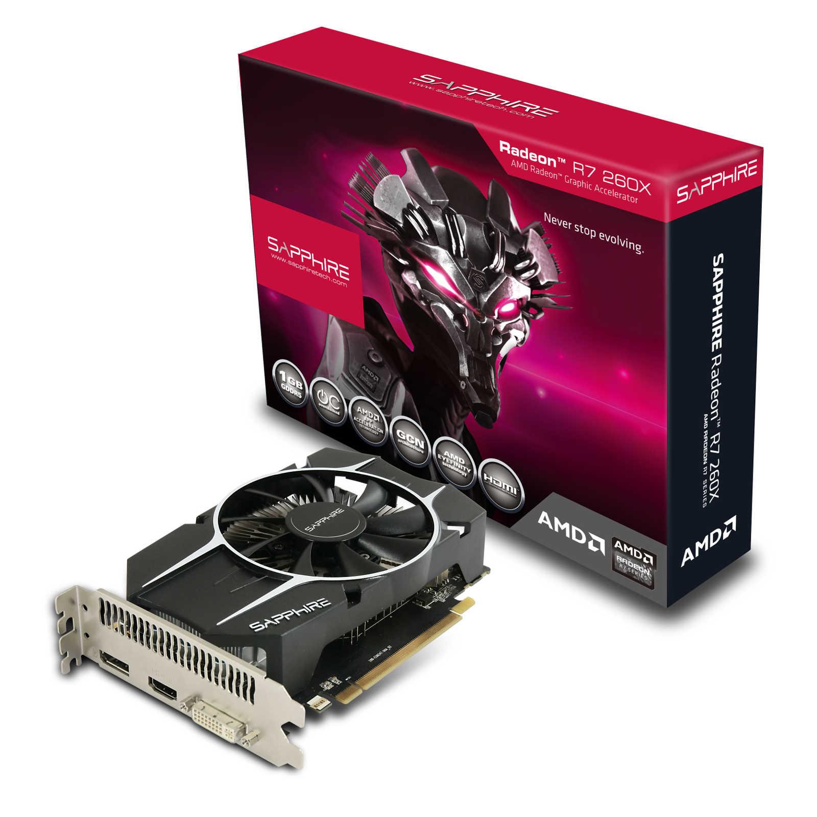 Carte graphique Sapphire Radeon R7 260X 1G GDDR5 OC 1 Go DVI/HDMI/DisplayPort - PCI Express (AMD Radeon R7 260X)