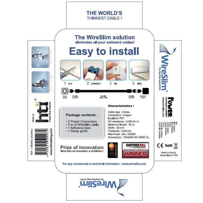 wireslim invisible power cable 3 m tres c ble secteur wireslim sur ldlc. Black Bedroom Furniture Sets. Home Design Ideas